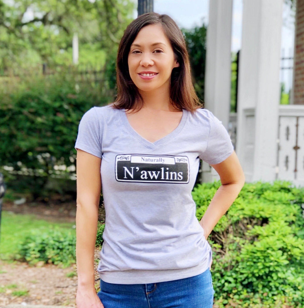 Naturally N'awlins Women's Grey V-Neck