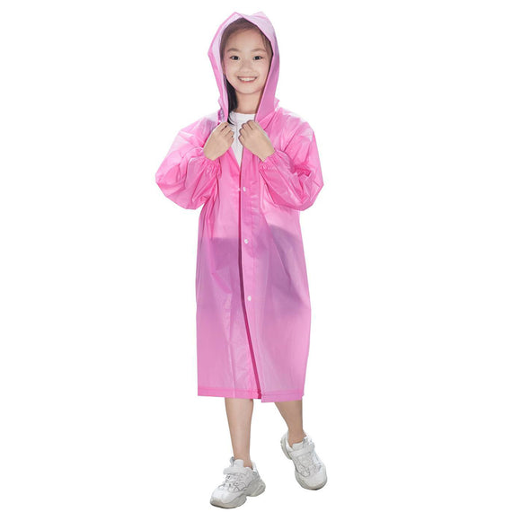 Kids Waterproof Long Hooded Rainsuit Children's Thick Raincoat Poncho Thick Jacket Cover Outdoor Activities Supplies
