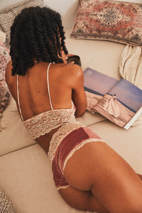 Briefs ~ Parisian Pink Velvet Cream Lace Knickers