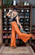 Linen blend Palazzo pants Harvest moon ~ Rust