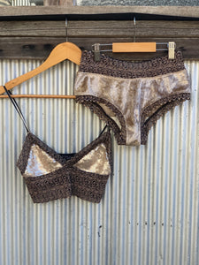 LIMITED EDITION Marbled oyster gold velvet knickers-Kultcha Collective