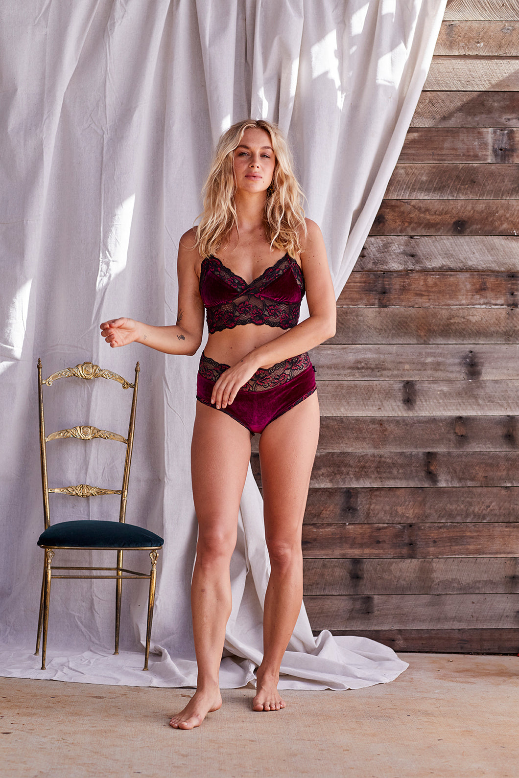 Bra-lette ~ Ruby Red Velvet Lace