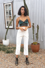 Paradiso Creme ~ high rise pants in uncut stretch cotton corduroy