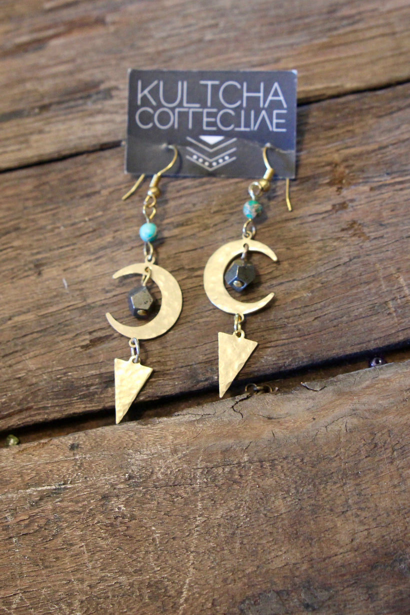 Moonstruck Earrings ~ Gold brass