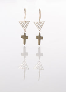 Pyrite Cross Earrings
