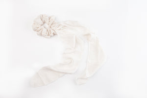 Hair Scrunchie ~ recycled Natural seeded linen