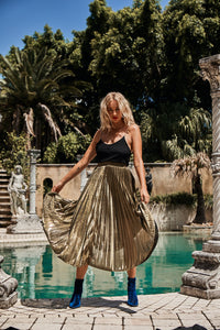 Stella ~ Golden pleat skirt