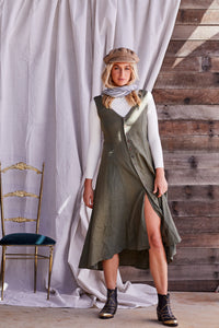 Summah ~ linen button through dress Cactus green