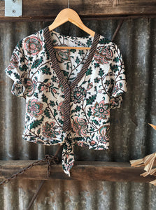 Indah Bloom print ~ Savanna Button through tie top