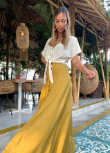 Summah ~ Ochre linen cotton maxi button up skirt