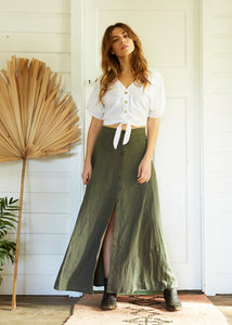Summah ~ six gore linen cotton maxi button up skirt