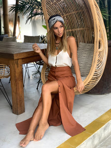Summah Pindan Rust Linen Cotton Skirt