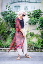 Load image into Gallery viewer, RED FLOWERS Chiffon Kimono