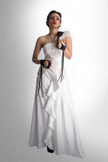 Silk-Blend Cascade Drape Dress
