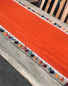 Table Runner with Colored Tassels