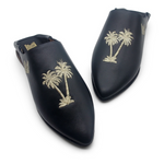 Load image into Gallery viewer, Handmade Babouche Slippers - Palm Tree Navy