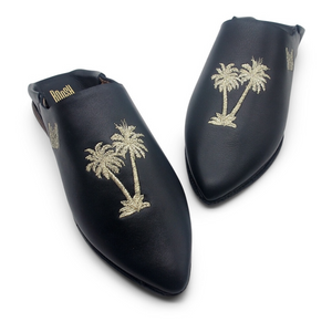 Handmade Babouche Slippers - Palm Tree Navy