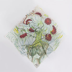 Hand-Painted FLORA Art Scarf