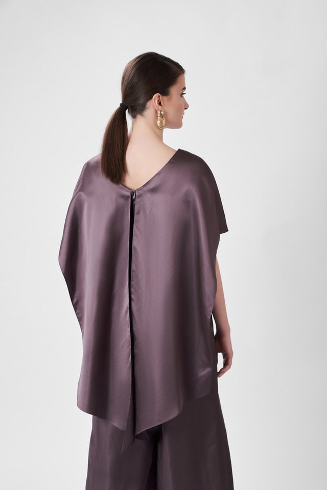 Silk-Blend Jumpsuit with Cape Effect