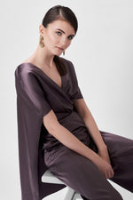 Load image into Gallery viewer, Silk-Blend Jumpsuit with Cape Effect
