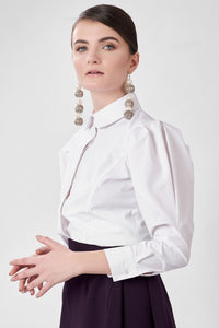 Poplin Shirt with Puffy Sleeves