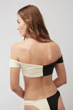 Load image into Gallery viewer, Black & White VIOLA Off-Shoulder Bikini