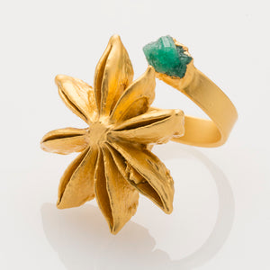 Star Anise Ring with Raw Emerald