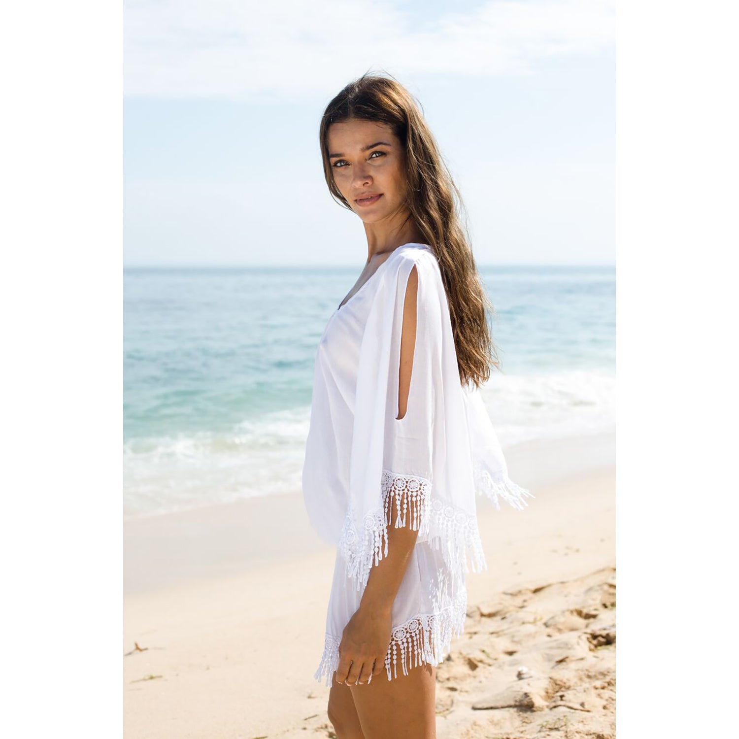 DAY DREAMER Short Kaftan With Cut-Out Sleeves