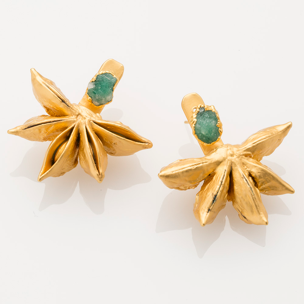 Star Anise Ear Jacket with Raw Emerald