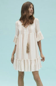 Dress with Jacquard Stripes