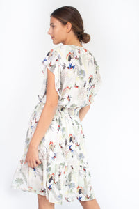 LEONCE Dress with Birds Print