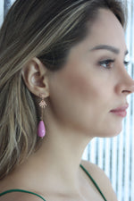 Load image into Gallery viewer, Lilac Rosario Drop Earrings