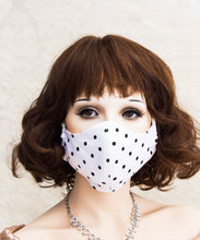 Load image into Gallery viewer, White Polka Dot Washable Face Mask
