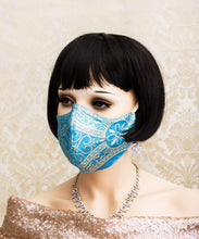 Load image into Gallery viewer, Blue Gothic Face Mask