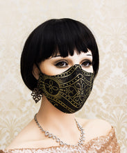 Load image into Gallery viewer, Black and Gold Gothic Face Mask