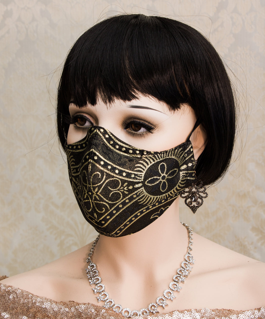 Black and Gold Gothic Face Mask