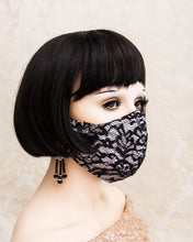 Load image into Gallery viewer, Black and Blush Lace Face Mask