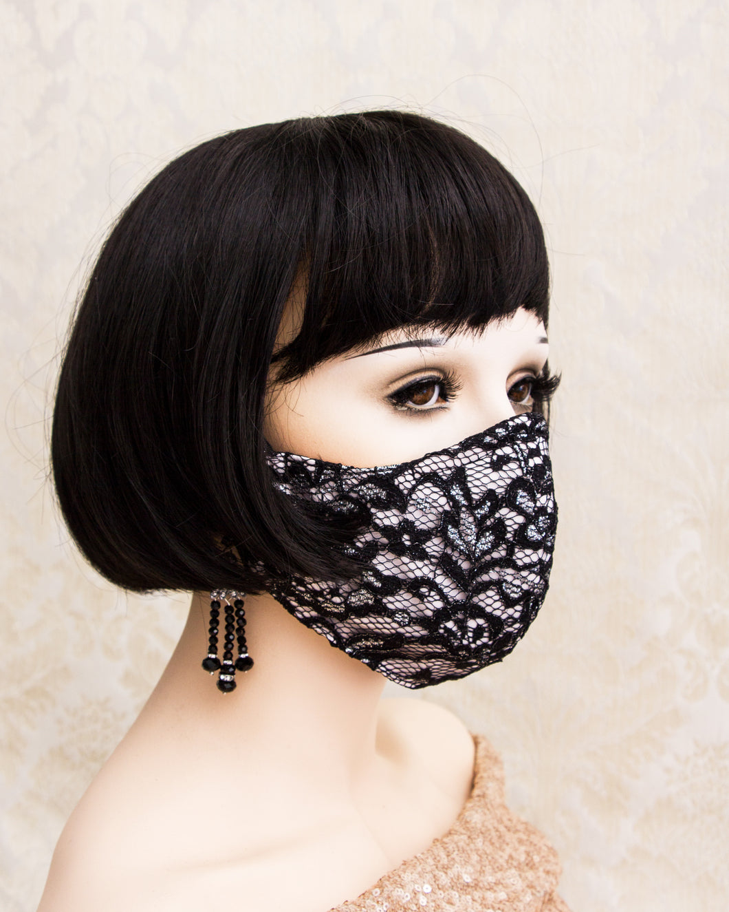 Black and Blush Lace Face Mask