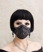 Load image into Gallery viewer, Black and Silver Gothic Face Mask with Filter Pocket