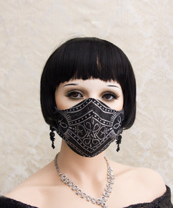 Black and Silver Gothic Face Mask with Filter Pocket