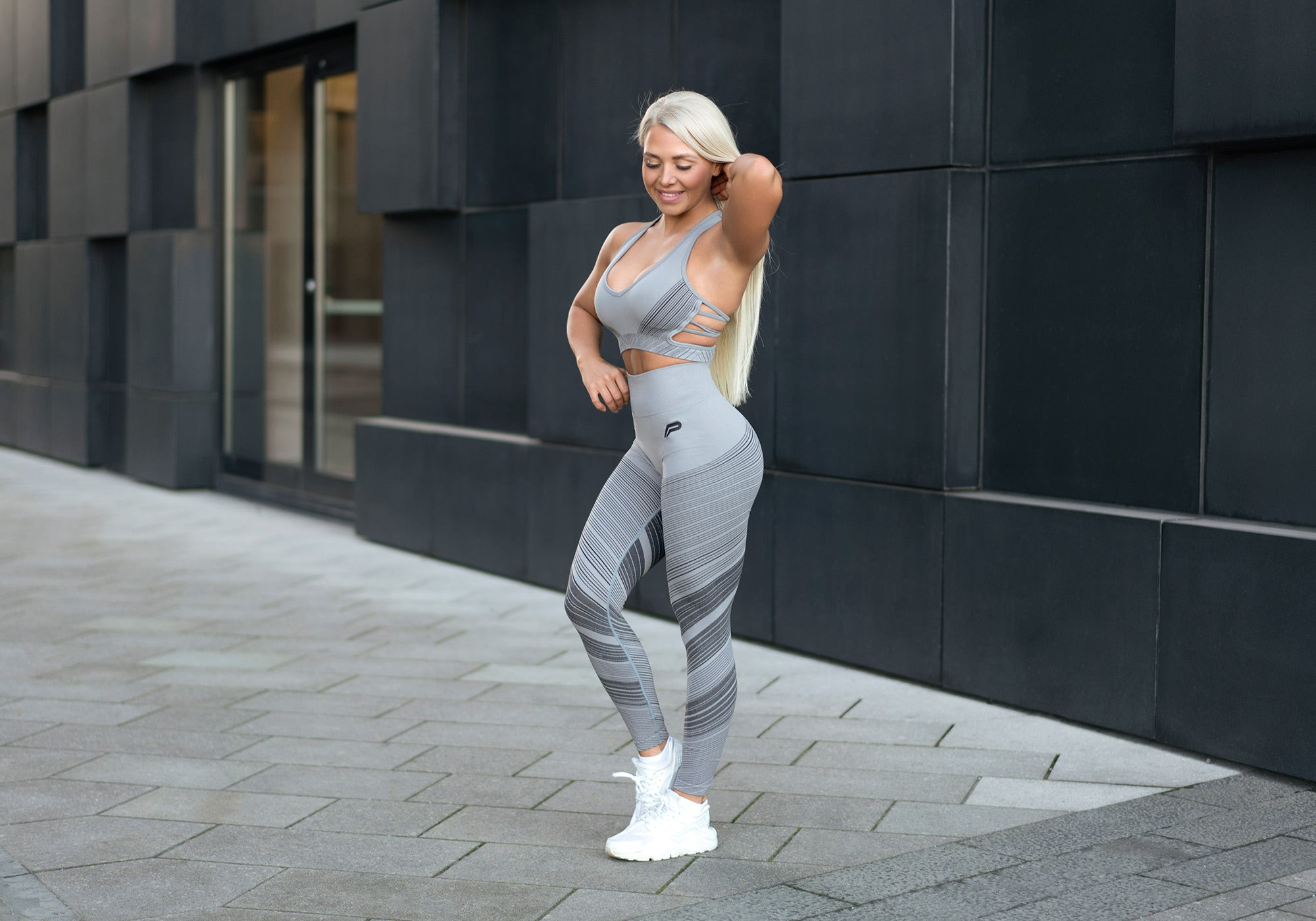 Grey seamless high waisted leggings