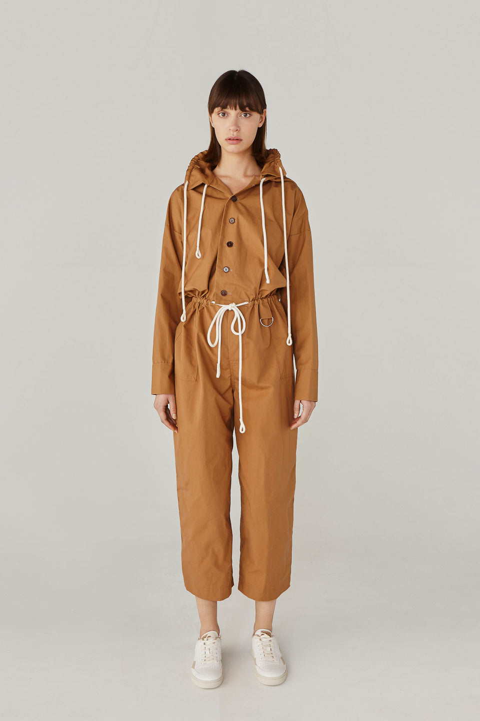 FUNCTIONAL CARAMEL JUMPSUIT