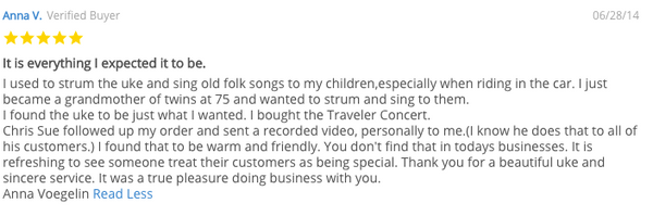 The Good Ukulele Company Testimonial