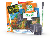 This Puzzle Double series takes the concept of a traditional puzzle to a whole new level! After putting together the 100 piece puzzle, turn off the lights and see a surprise as it glows in the dark. This Glow in the Dark puzzle provides a fun way to expand your child's knowledge of jungle animals! Each Glow in the Dark puzzle has 100 puzzle pieces and measures at 3' X 2'! Ages 3+ years.