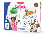 The award-winning Match It! – Letters provides a set of 20 vibrant puzzle cards that introduce children to basic letters and spelling. Each card features a real-life picture of an object and spelled out word. Simply fit the correct pieces together to complete the puzzle. The puzzles are self-correcting as no two cuts are the same. Ages 3+ Years.