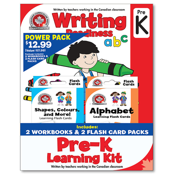 Pre-Kindergarten Learning Kits; 2 Workbooks, Math, Writing, 2 Flash Cards - Canadian Curriculum Press