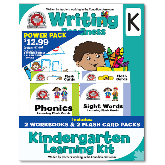 Kindergarten Learning Kits; 2 Workbooks, Math, Writing, 2 Flash Cards - Canadian Curriculum Press