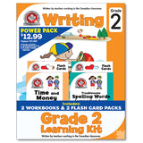 Grade 2 Learning Kits; 2 Workbooks, Math, Writing, 2 Flash Cards - Canadian Curriculum Press