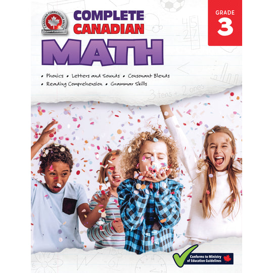 This jumbo, full-colour workbook, which includes practise quizzes with an answer key, will give children the tools they need to build their skills in areas such as addition and subtraction, multiplication and division, word problems, and fractions and decimals. By following the curriculum taught in Canadian schools, the Grade 3 Complete Canadian Math workbook will give children the confidence required to excel in the classroom and beyond.​  352 pages // ISBN: 9781770629059