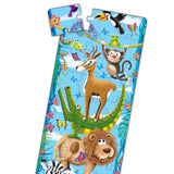 "Kids will ""swing"" their way through learning about sizes with this fun Big to Small Animals puzzle. Measuring 5 feet tall, this colorful jungle scene features big to small colorful animals. With 51 pieces this jumbo puzzle will keep your little ones engaged for hours. Ages 3+ years."